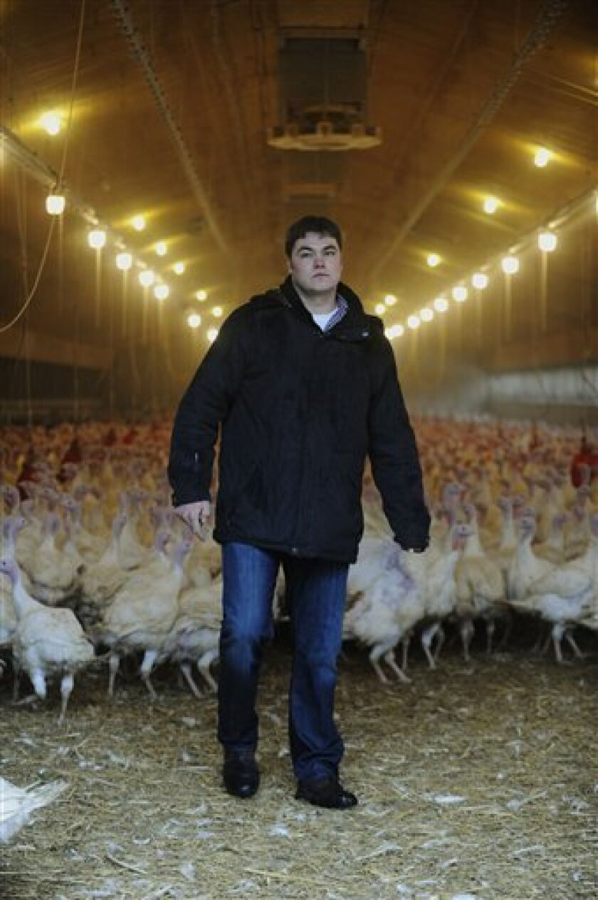 In this picture taken Jan. 6, 2011 turkey hens breeder Helge Vosteen stands in his hen house in Neerstedt near Oldenburg northern Germany after it was precautionary closed. German authorities have stopped more than 4,700 farms from selling their meat and eggs as a precautionary measure against a growing scandal over animal feed contaminated with cancer-causing chemicals that is also affecting exports. Authorities believe some 150,000 tons of feed for poultry and swine containing industrial fat have been fed to livestock across Germany. The fat contains dioxins and should not have been in the food. (AP Photo/Dapd/David Hecker)