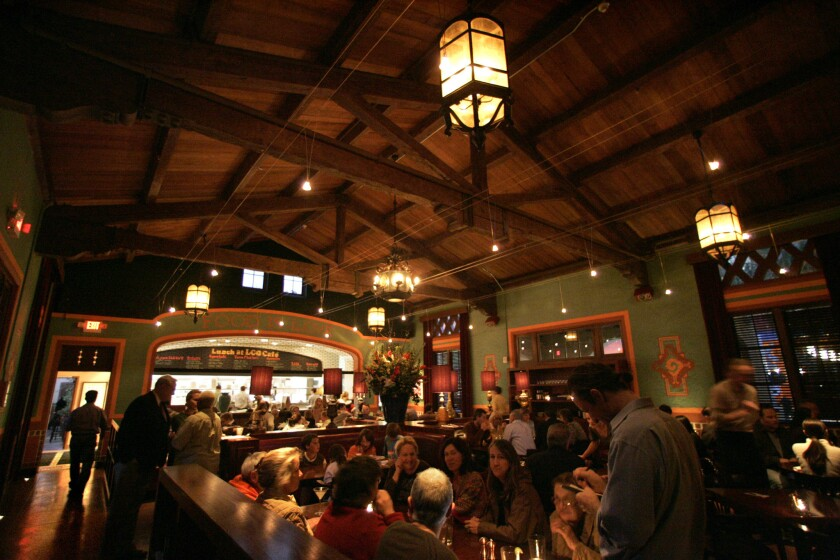 The main dining room of La Grande Orange Cafe, a popular Pasadena hangout.
