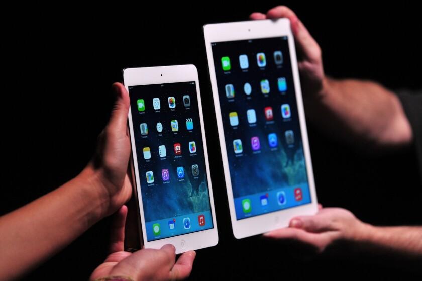 The iPad mini 2, at left, has now overtaken its predecessor.