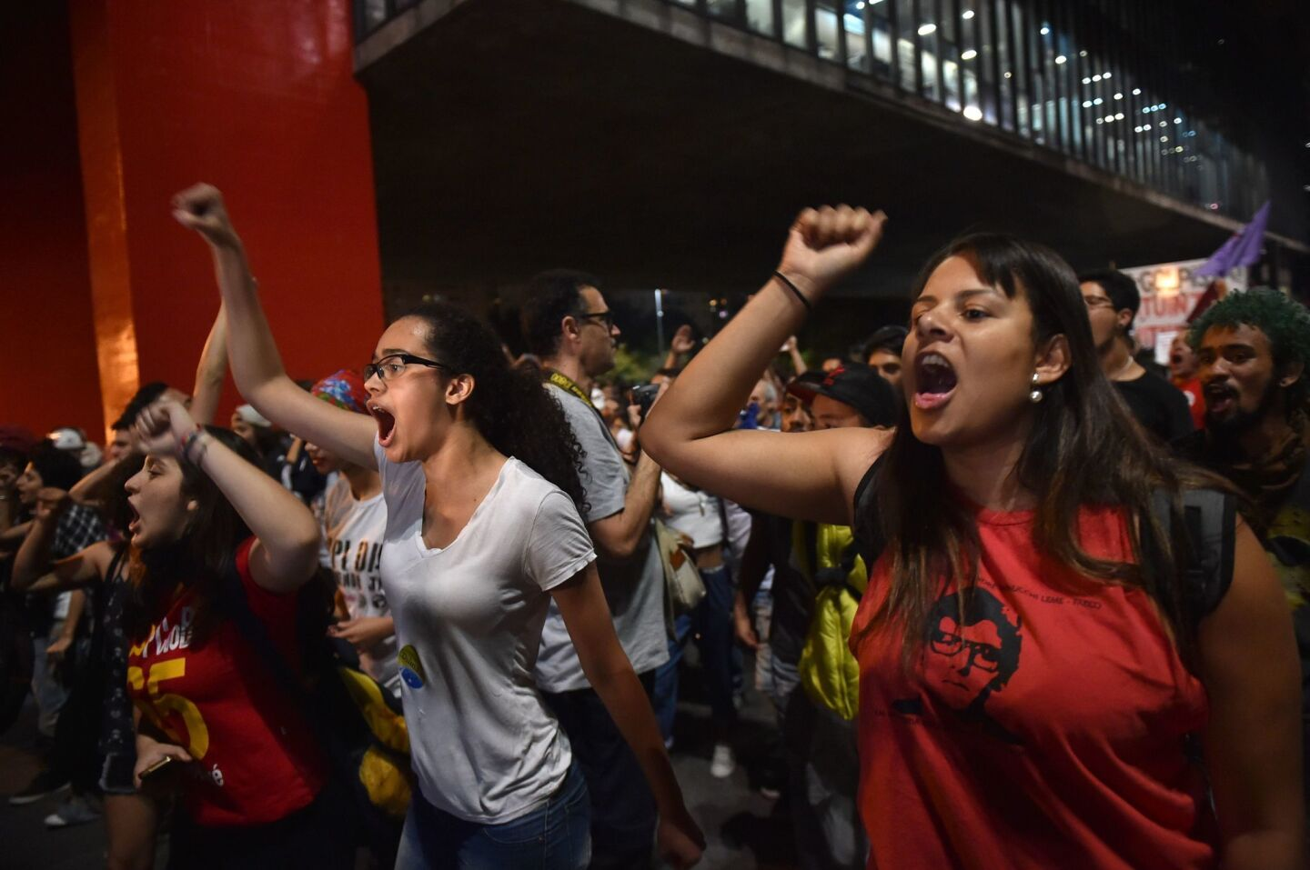 Supporters of suspended Brazilian President Dilma Rousseff protest in Sao Paulo. Brazilian senators engaged in marathon debate Tuesday on the eve of voting on whether to strip Rousseff of the presidency.