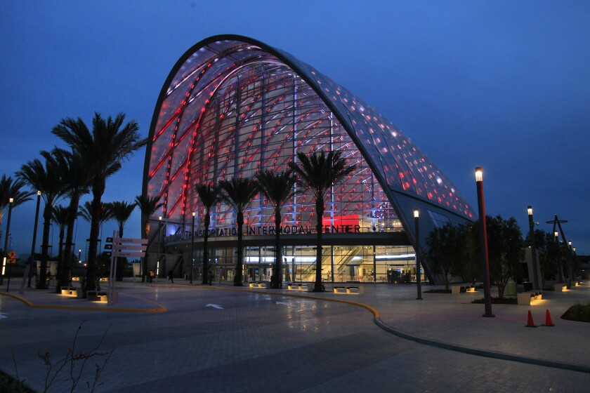 A view of the new ARTIC Transportation Center in Anaheim.