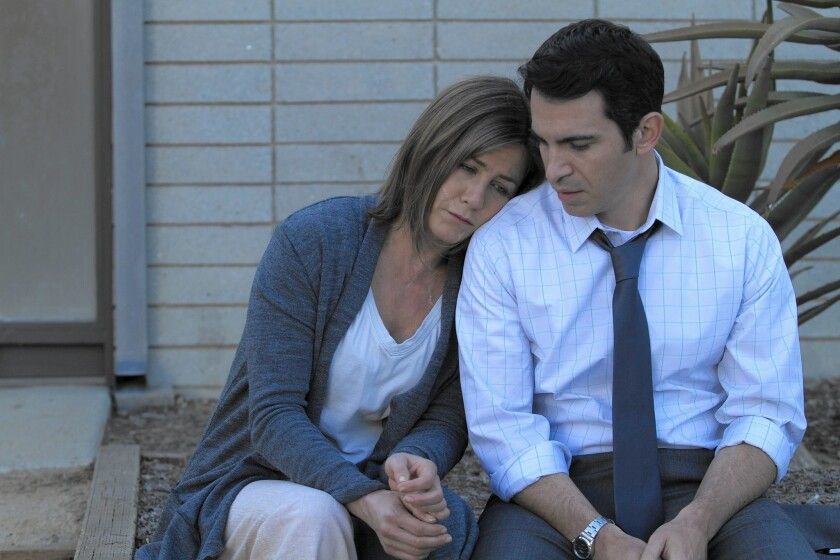 "Jennifer Aniston and Chris Messina in ""Cake."""