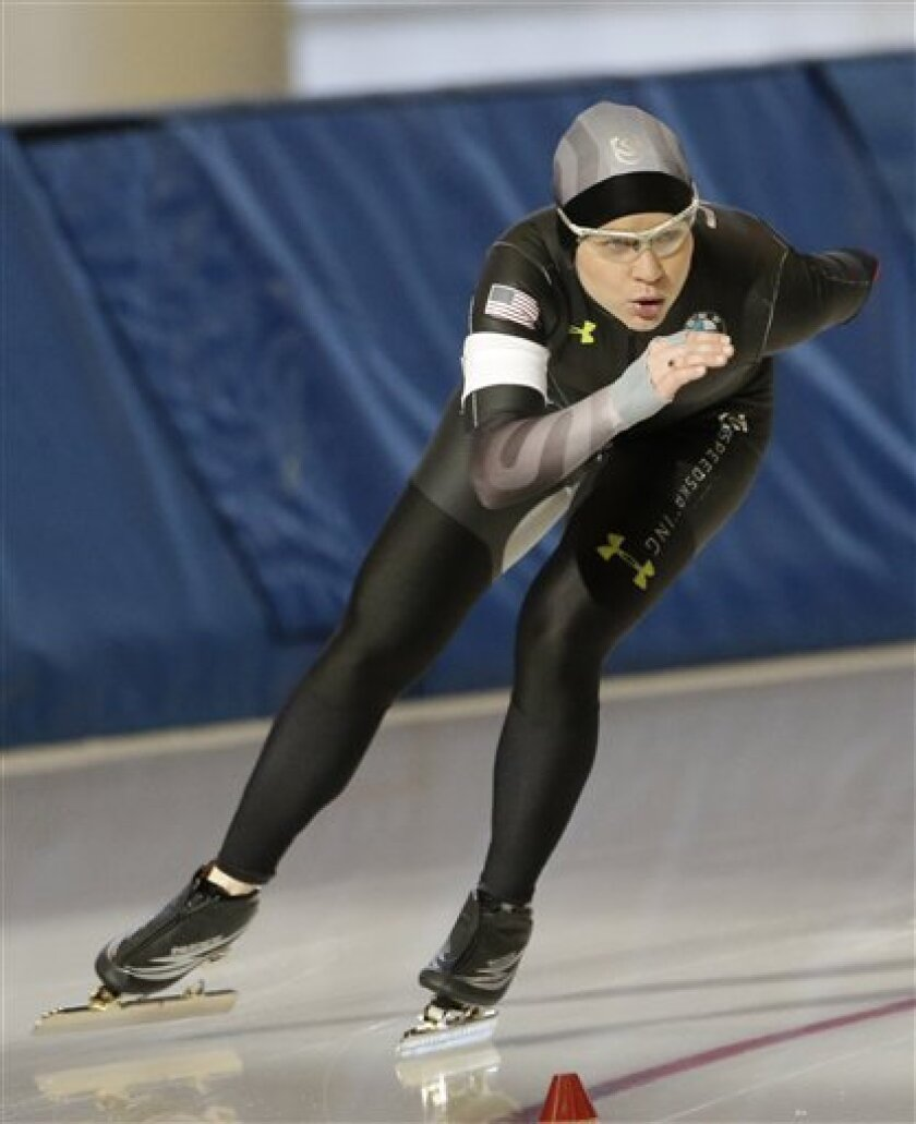 Speedskater Bridie Farrell competes in the 1000-meter during the Long Track American Cup Final North American Championship, Friday, March 1, 2013, in Kearns, Utah. U.S. Speedskating began an investigation Friday into the report of a female skater accusing former Olympian and organization president Andy Gabel of sexual abuse in the 1990s. Farrell told public radio station WUWM in Milwaukee that she had sexual contact with Gabel repeatedly over several months in 1997 and 1998 while both were train