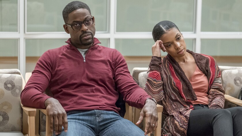 """The family hopes for good news in the hospital waiting room in a new episode of the drama """"This Is Us"""" on NBC. Sterling K. Brown and Susan Kelechi Watson star."""