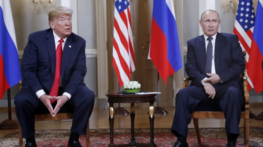 U.S. President Donald Trump, left, and Russian President Vladimir Putin, right, in Helsinki, Finland, on July 16.