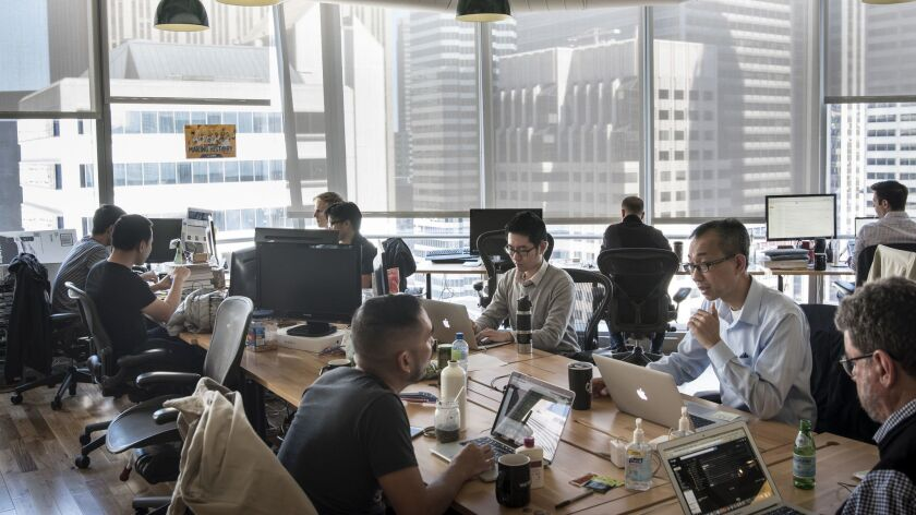 SAN FRANCISCO, CA APRIL 25, 2016 Staffers work in the offices of Appthority, a San Francisco start