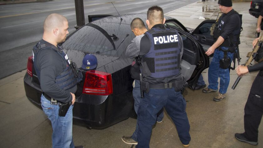 U.S. Immigration and Customs Enforcement shows foreign nationals being arrested during a targeted enforcement operation conducted in February in Southern California.