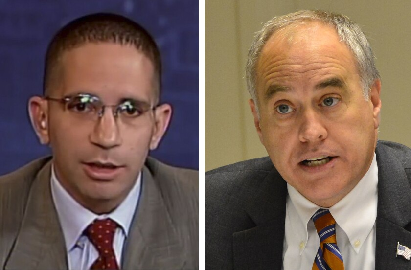 Republican Jonathan Trichter debated New York State Comptroller Thomas diNapoli on NY1/Spectrum Cable News on Tuesday.