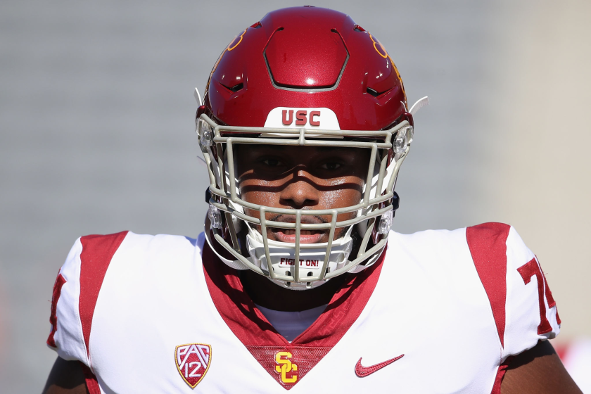 USC offensive lineman Courtland Ford warms up before a game against Arizona.