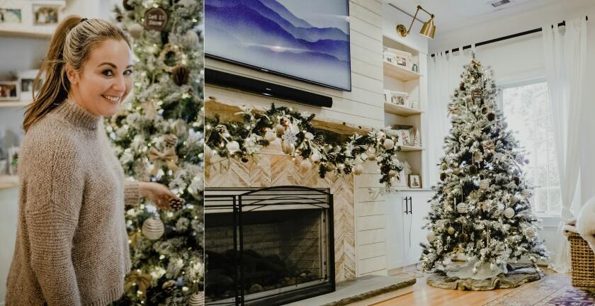 En esta combinación de fotos se ve a Lindsey Catarino mientras posa frente a su árbol de Navidad en su hogar