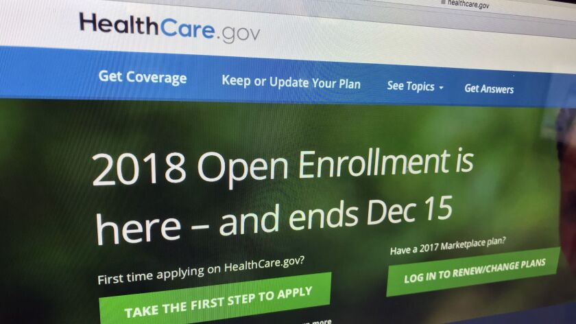 In this Dec. 15, 2017 photo, the HealthCare.gov website is photographed in Washington. A new tally b