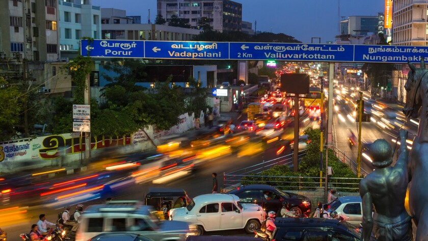 Traffic at dusk, central Chennai, Chennai (Madras), Tamil Nadu, India