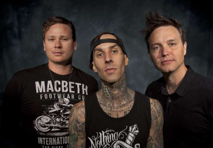 Blink-182 guitarist and vocalist Tom DeLonge announced on Instagram that the band will begin rehearsing a new album. Above, from left are DeLonge, left, drummer Travis Barker and bassist/vocalist Mark Hoppus.