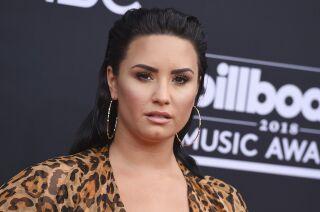 Demi Lovato posing in hoop earrings