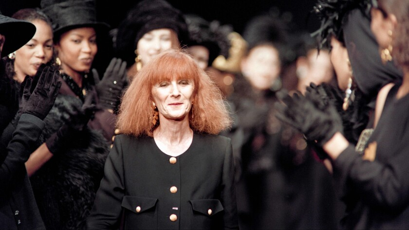 A March 14, 1993, file photo of Sonia Rykiel at the finale of her Fall/Winter 1993 Paris runway show. The so-called Queen of Knitwear died on August 25, 2016, at the age of 86 after a long battle with Parkinson's disease.