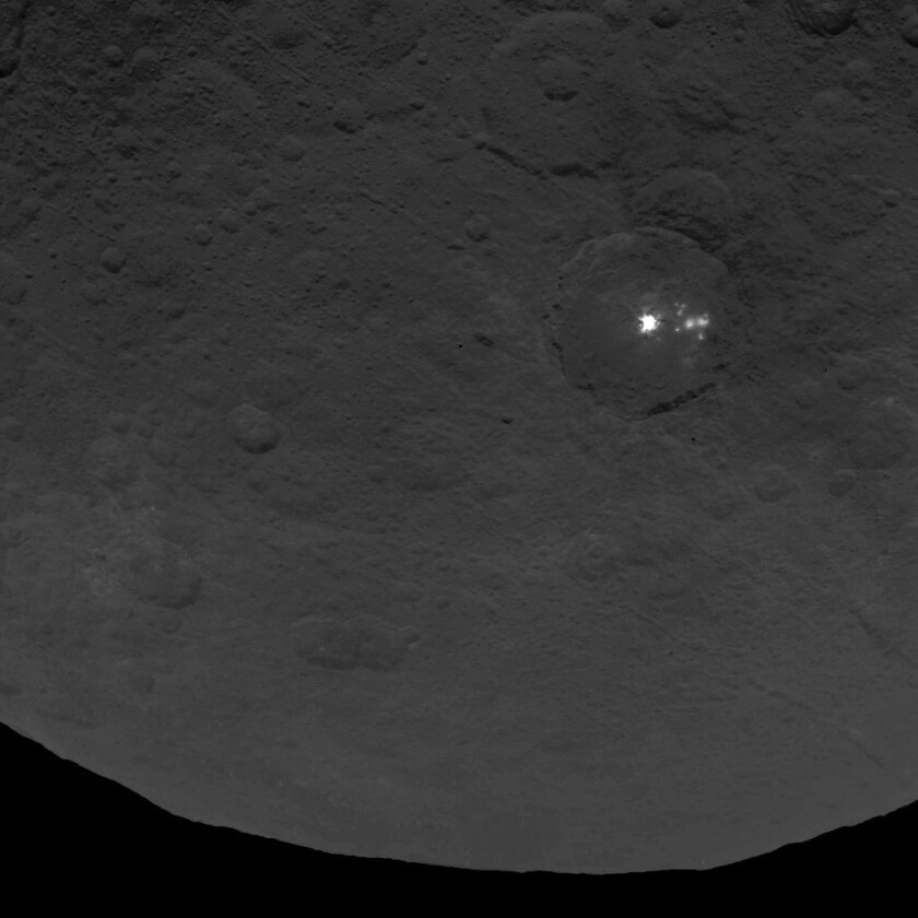 NASA's Dawn spacecraft has taken images of a cluster of unexplained bright spots on Ceres.