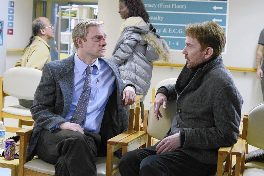 "Martin Freeman, left, as Lester Nygaard and Billy Bob Thornton as Lorne Malvo in ""Fargo."""