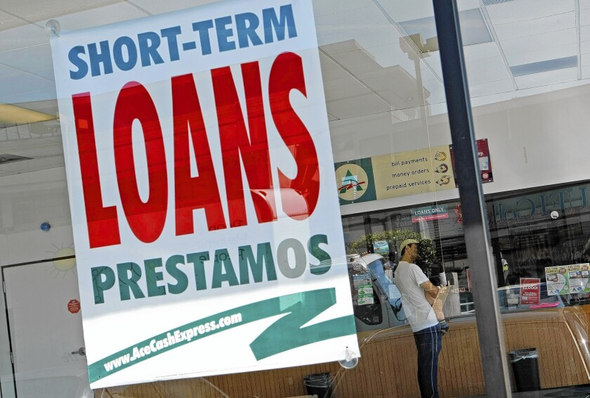The Consumer Financial Protection Bureau accused Ace Cash Express of using illegal tactics to pressure borrowers with overdue payday loans into taking out new loans to pay them off. Above, a store in Van Nuys in 2010.