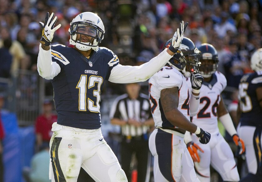 San Diego Chargers vs. The Denver Broncos at Qualcomm Stadium.San Diego Chargers wide receiver Keenan Allen (13) reacts to dropping a pass in the end zone in the second quarter.