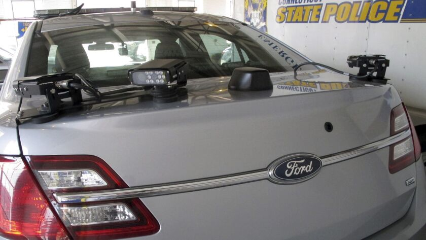 License plate reading cameras mounted on the back of a Connecticut State Police cruiser in Hartford, Conn.