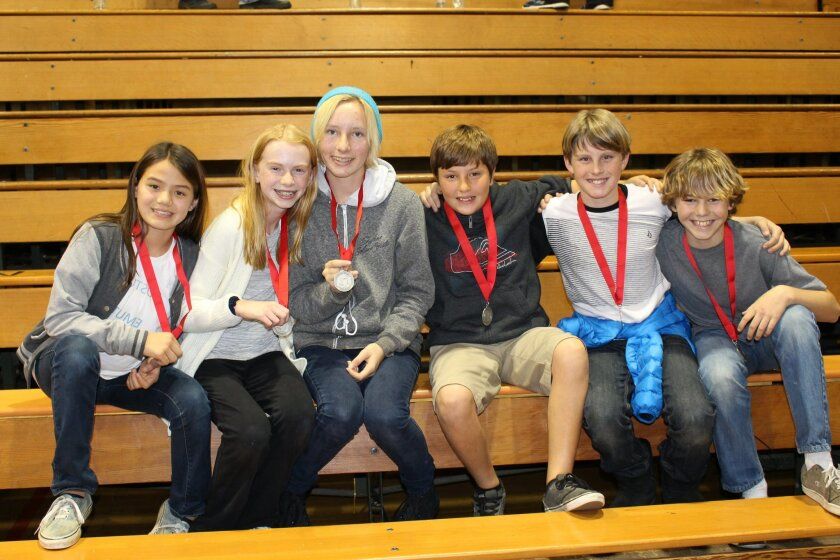 Skyline School took second place in the Odyssey of the Mind Coastal Regional Division. Pictured, L-R: Meg Larson, Alex Borthwick, Giselle Brown, Tanner Turrell, Austin Hellickson and Luke Halpern.