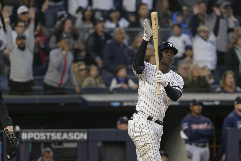 The Yankeees' Didi Gregorius reacts to his grand slam in Game 2 of the ALDS against the Twins on Oct. 5, 2019.