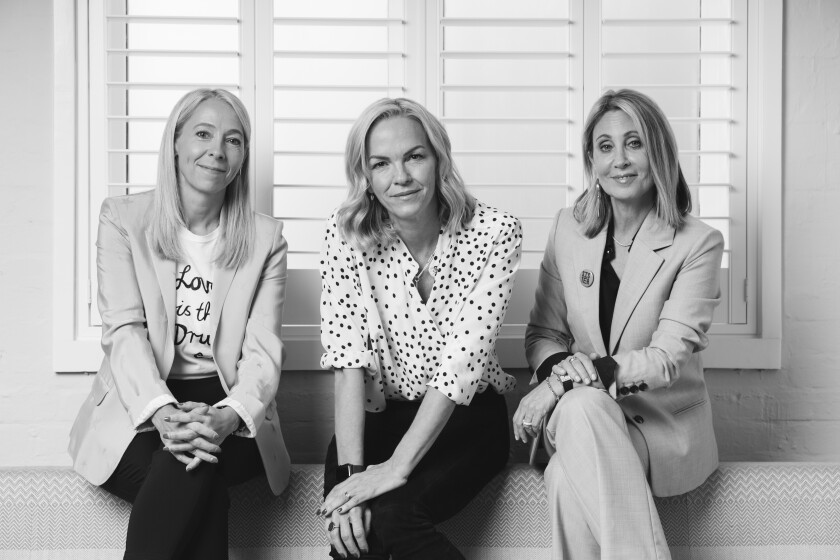 Jane Featherstone, from left, Elisabeth Murdoch and Stacey Snider are co-founders of the new production company Sister.