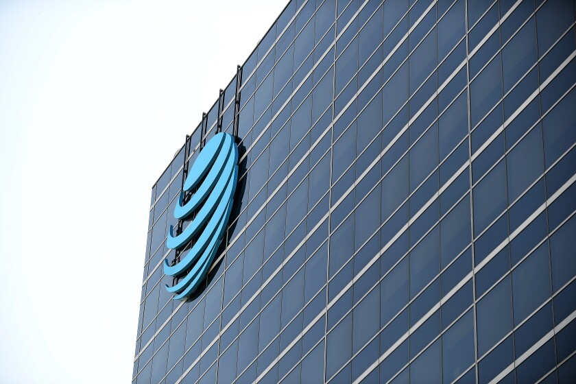 An office building with an AT&T logo