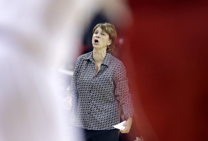 Nebraska head coach Connie Yori is seen between players as she yells from the bench in the first half of an NCAA college basketball game against Maryland, Sunday, Feb. 8, 2015, in College Park, Md. (AP Photo/Patrick Semansky)