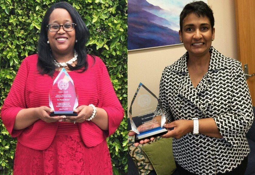 The NAACP recognized MiraCosta College president/superintendent Dr. Sunita 'Sunny' Cooke and counseling and student development dean Dr. Wendy Stewart for their community leadership and accomplishments at its recent 2nd annual Salute to Women of Color Awards.