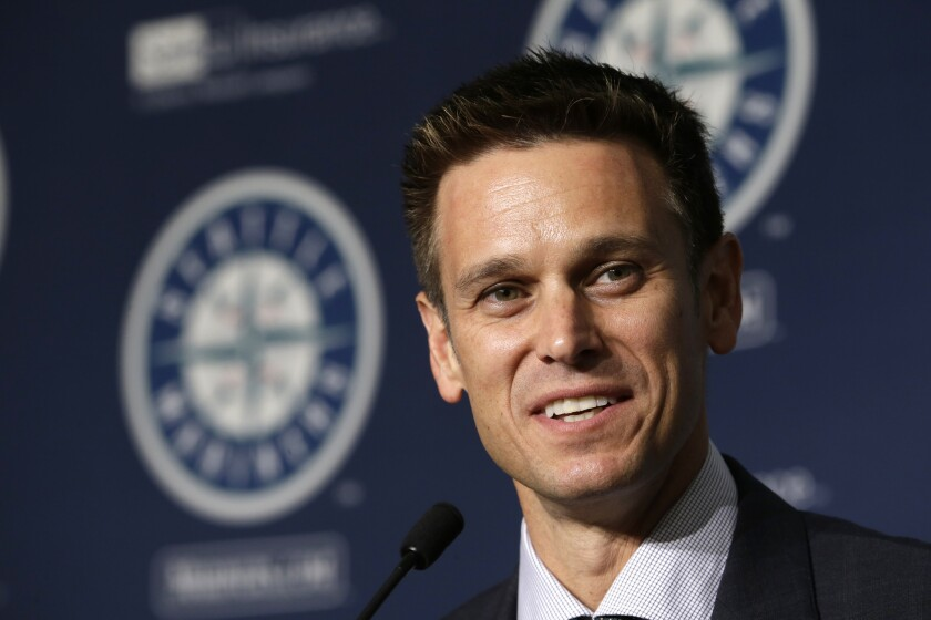 New Seattle Mariners General Manager Jerry Dipoto speaks at a news conference on Sept. 29.