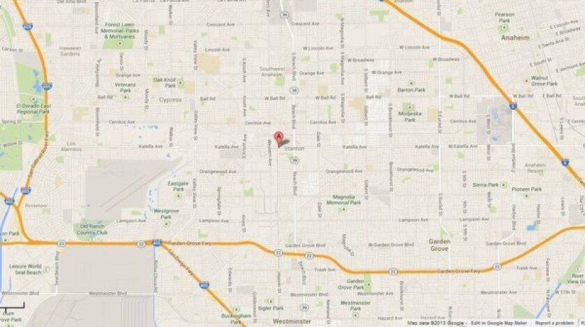 Map shows the approximate location of an apartment in Stanton where two women were found dead.