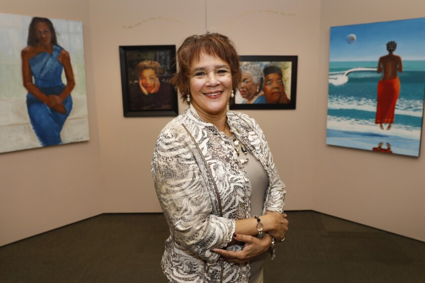 """Leah Goodwin, president and CEO of Leah Goodwin Creations, curated the show """"1619 National Celebration of Black Women Exhibit,"""" currently at the Women's Museum of California in Liberty Station."""