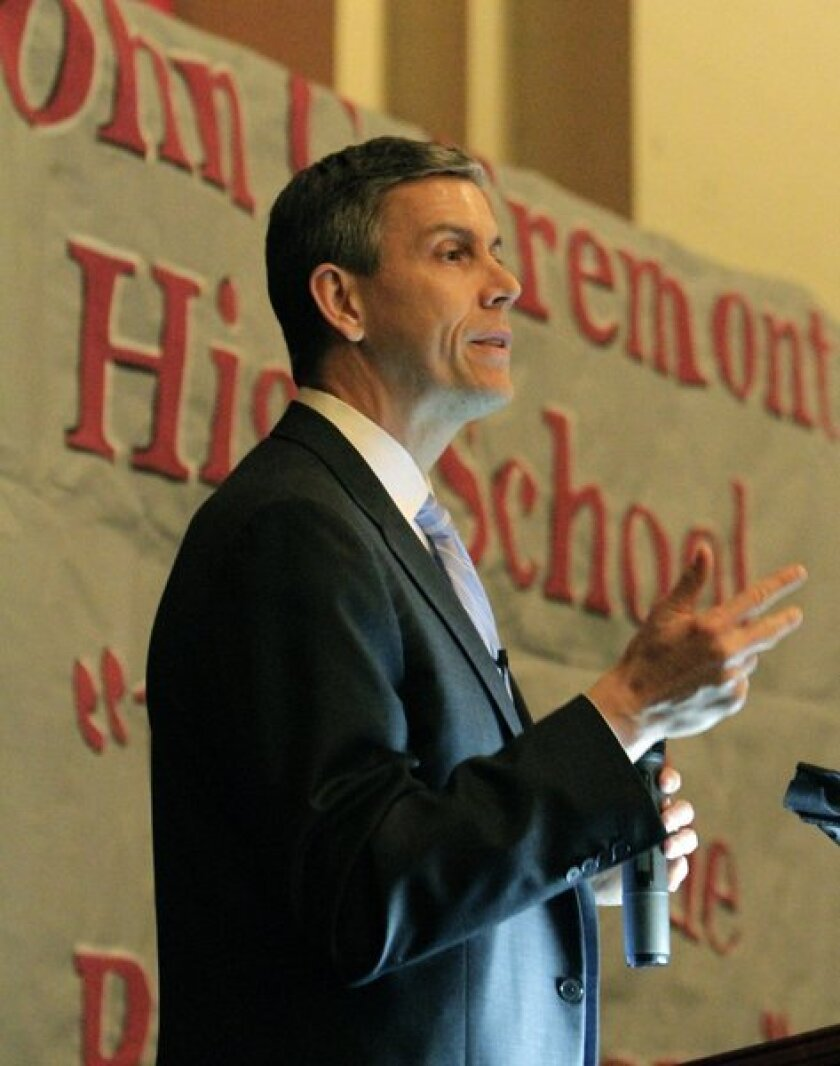 U.S. Education Secretary Arne Duncan during a 2011 visit to a Los Angeles campus. He rejected California's request for relief from sanctions affecting schools.