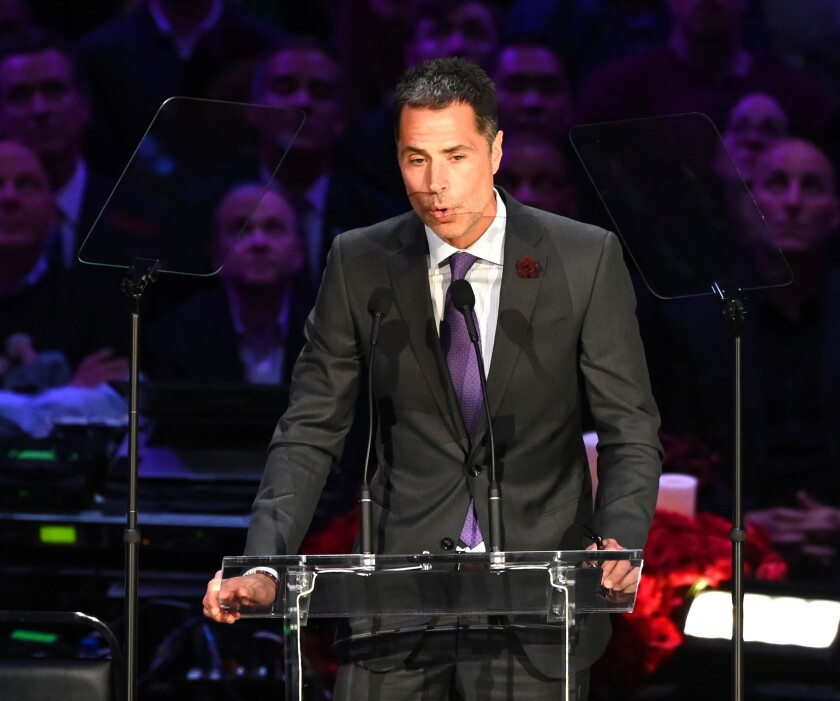 Lakers general manager Rob Pelinka speaks at the Kobe and Gianna Bryant memorial service at Staples Center on Monday.