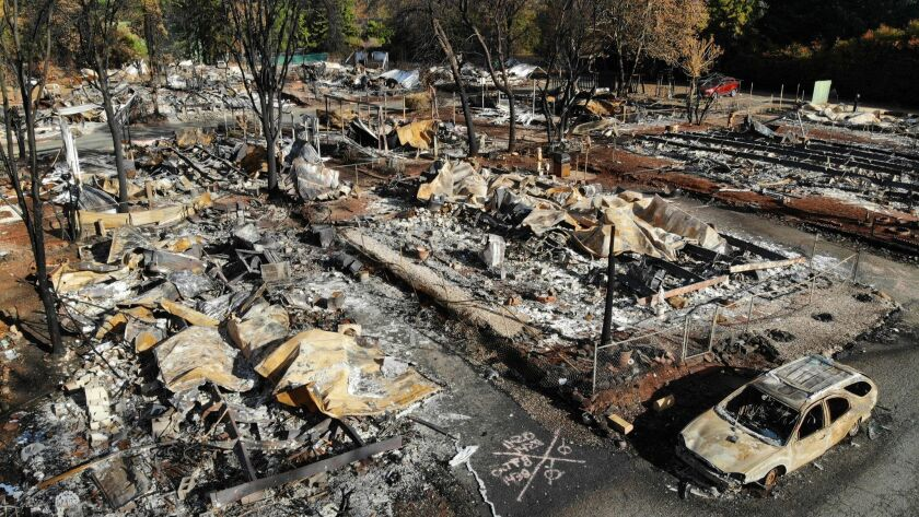 PARADISE, CALIFORNIA--NOV, 2018--All but a few homes in the Pine Grove Mobile Home Park were destroy