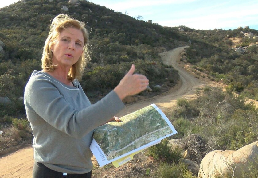 Rita Brandin, senior vice president and development director for Newland Sierra, during a tour in 2018 of the North County property where the company wanted to build a 2,135-home, master-planned community.