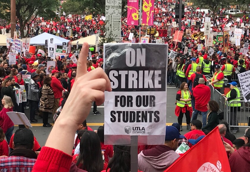 L A  teachers' strike brings day of disruption for thousands of