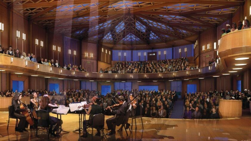 The Baker-Baum Concert Hall will be lined with a wood grill of oak and eucalyptus and the stage floor covered by Alaskan yellow cedar.