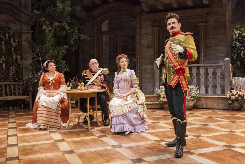 "Marsha Mason, Conrad John Schuck, Wrenn Schmidt and Enver Gjokaj (left to right) in the Old Globe Theatre's ""Arms and the Man."""