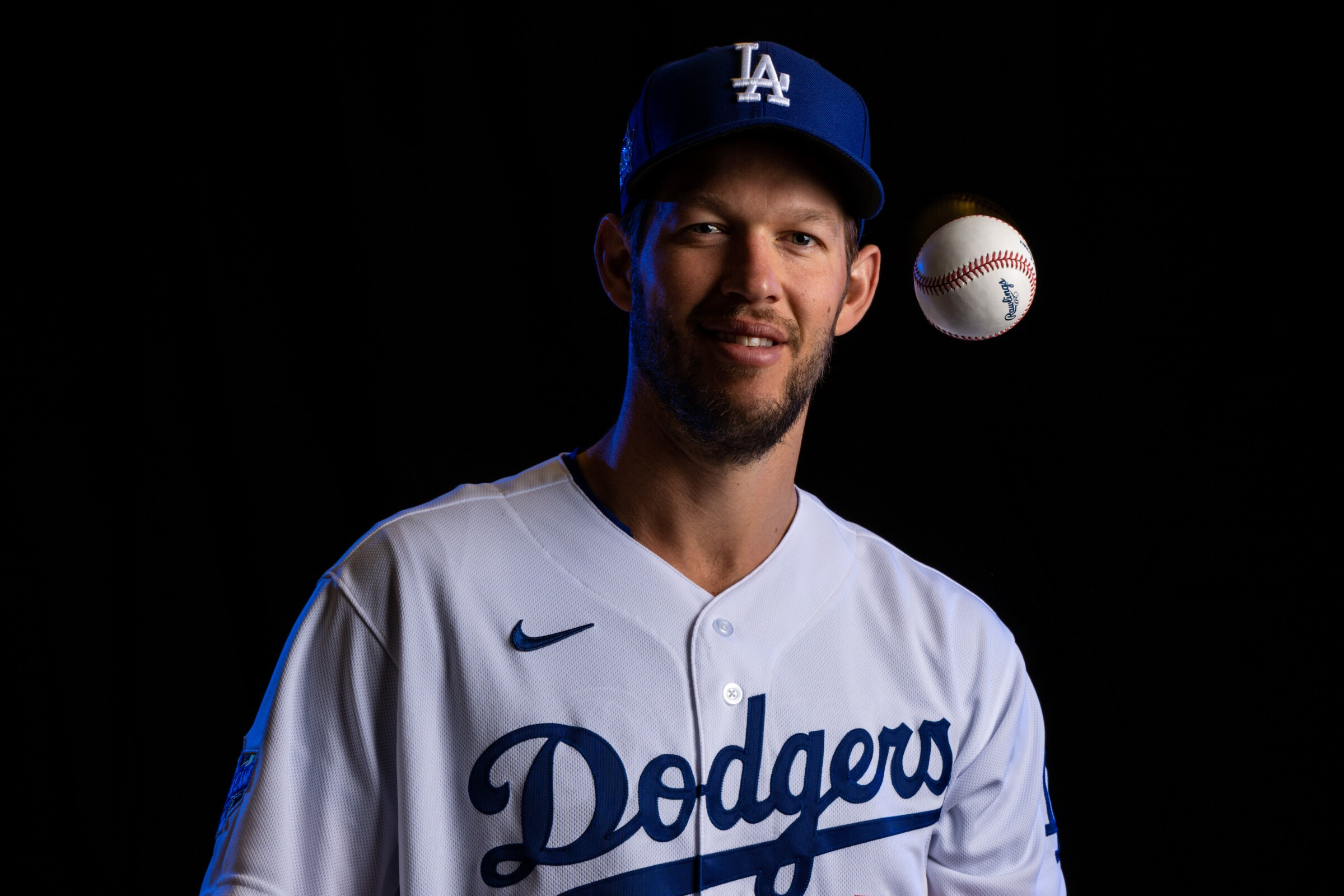 Dodgers pitcher Clayton Kershaw (22) poses for a portrait.