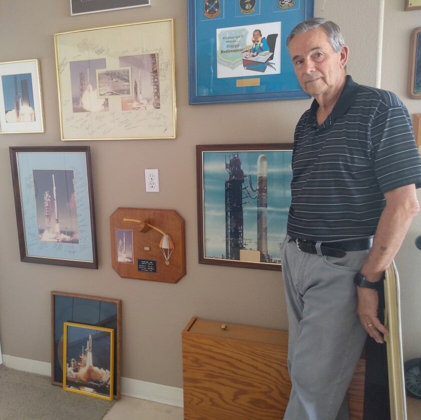 Jim Hane keeps photos and plaques in his Ramona garage that remind him of his Air Force career.