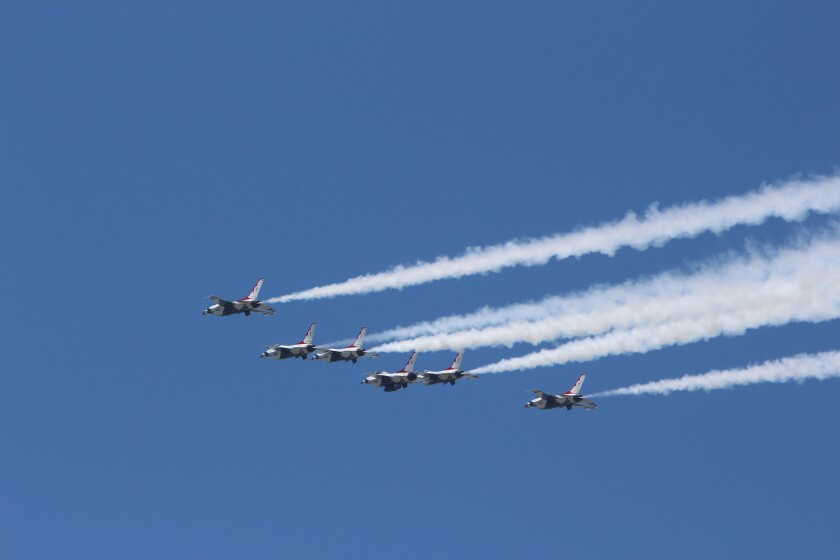 Air Force Thunderbirds fly over Scripps Green Hospital in La Jolla on May 15 to honor medical workers and other COVID-19 first responders.