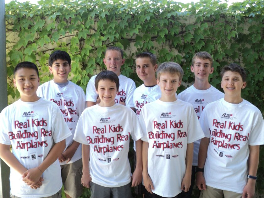 Bear Valley Middle School's Ursa Majors robotics team for 2012-13 participated in a plane-building competition. Pictured are Jeremy Yang (left), David Said, Reid Endress, Justin Wills, Hans-Jacob Christensen, Zack Neese, Max Pewitt and Jacob Resler. Not pictured are Anjesy Espinosa and Allison Eveland.