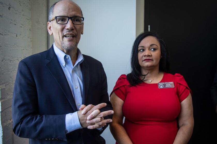 Tom Perez, left, chair of the Democratic National Committee, and Nikema Williams, chair of the Georgia Democratic Party.