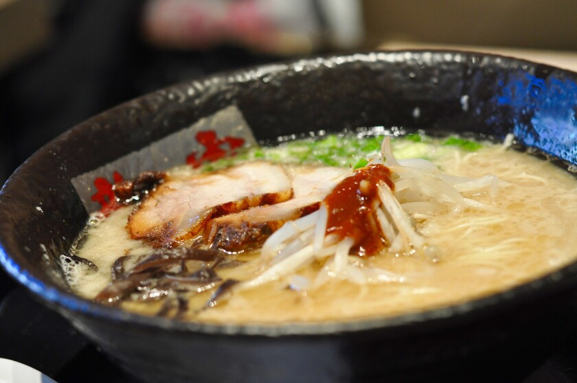 A bowl of tonkotsu ramen with chashu at the newly opened Ramen Tatsunoya in Pasadena.