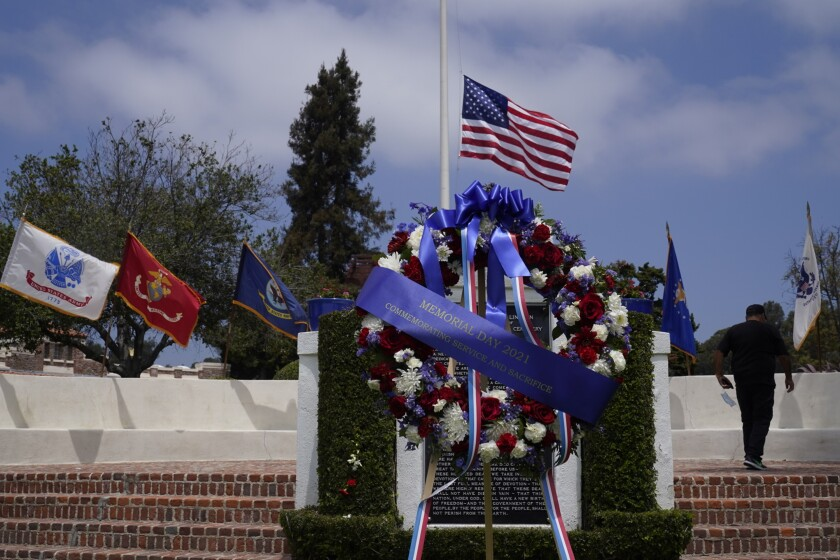 U.S. flag flying over the Los Angeles National Cemetery