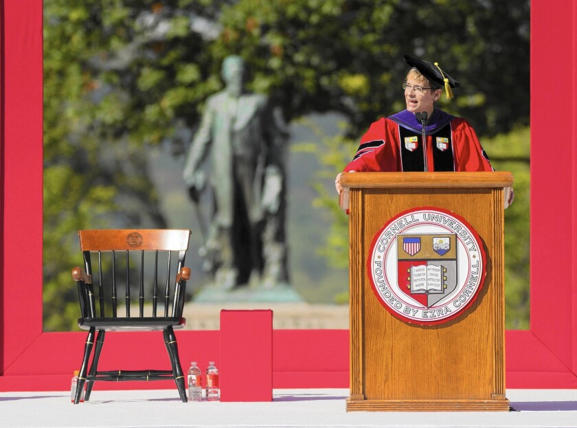 Elizabeth Garrett, the first woman president of Cornell University, delivers her inaugural address at the school in Ithaca, N.Y. She has died of colon cancer after less than a year on the job.