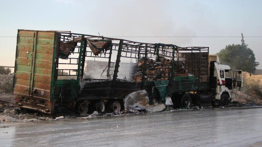 Damaged aid truck in Syria