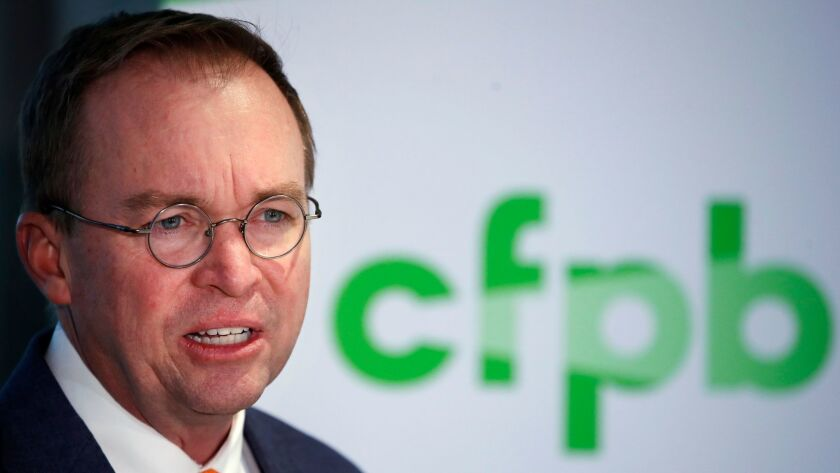 The judge sided with Mick Mulvaney — President Trump's choice for the interim position — over Leandra English, the deputy director at the Consumer Financial Protection Bureau who has said she is the rightful acting director.